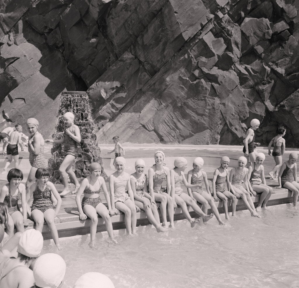 Detail of Opening of Peel outdoor swimming pool by Manx Press Pictures