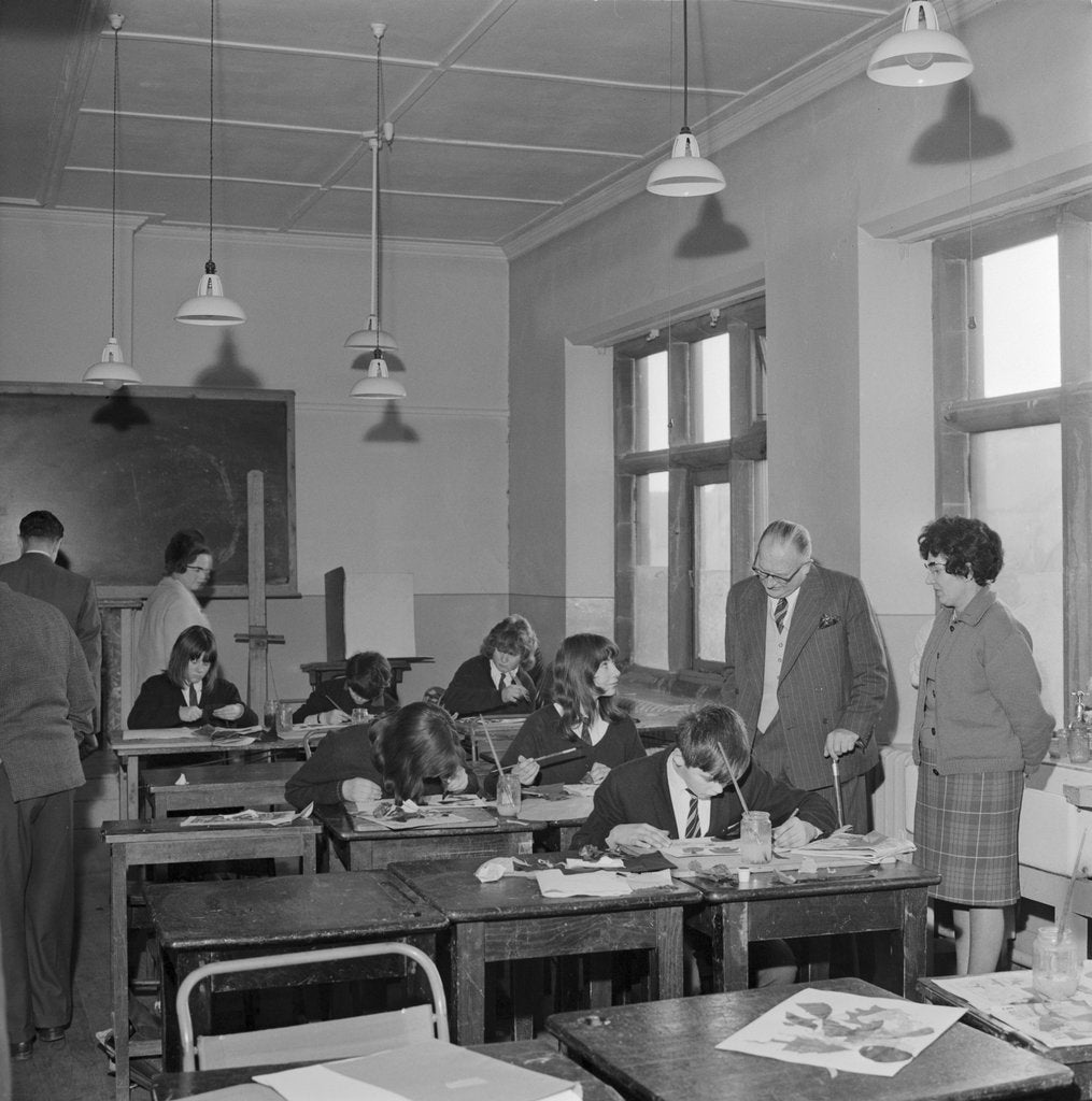 Detail of Lieutenant Governor Sir Ronald Herbert Garvey visits School of Art, Isle of Man by Manx Press Pictures