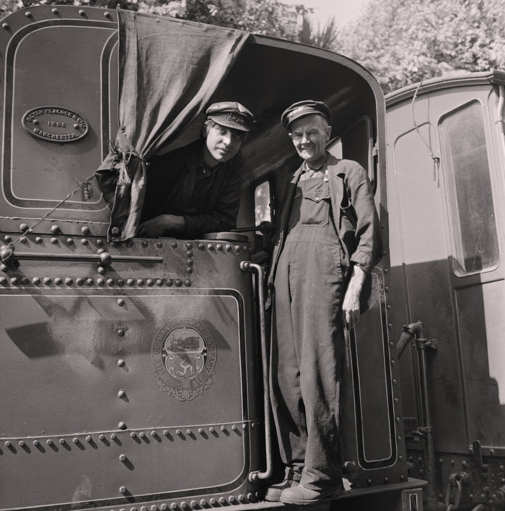 Detail of Steam train and engine drivers by Manx Press Pictures