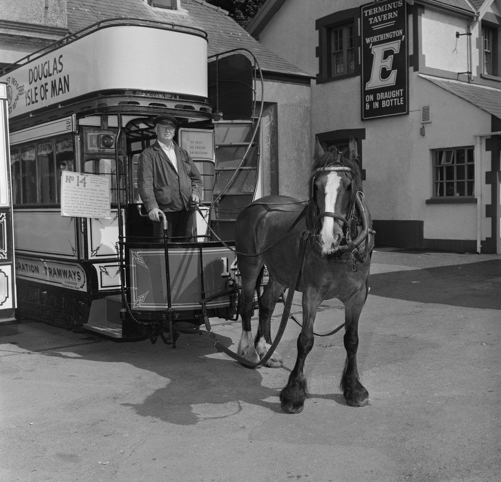 Detail of Jack Dugdale, horse tram driver by Manx Press Pictures