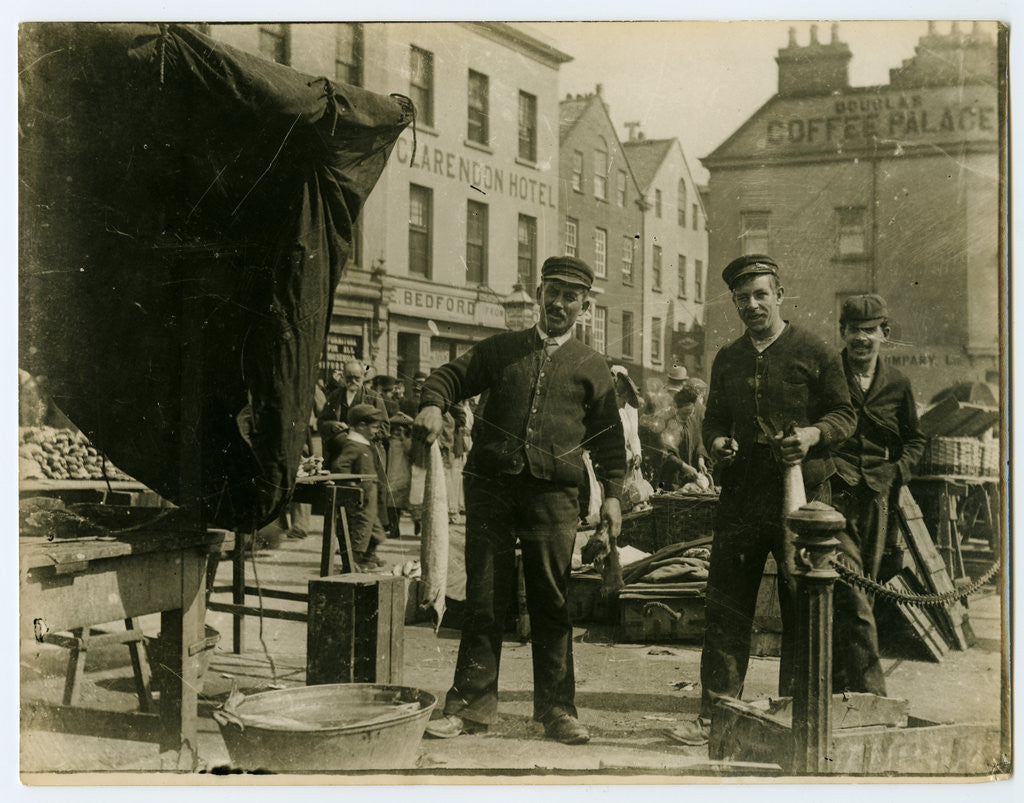 Detail of Men gutting fish on North Quay, Douglas by Anonymous