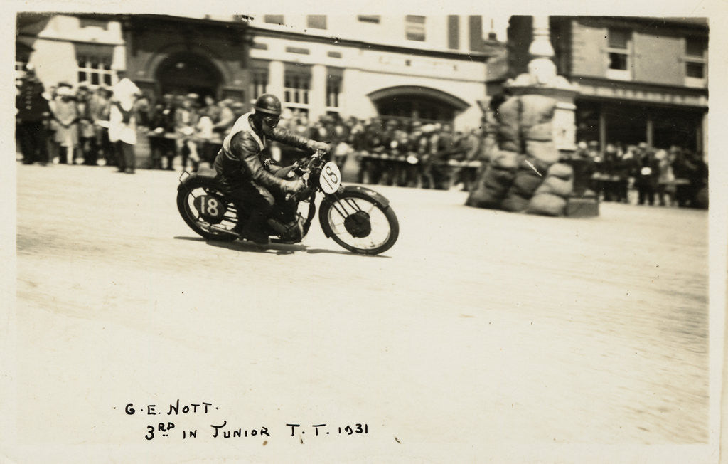 Detail of G.E. Nott riding machine number 18, 1931 Junior TT (Tourist Trophy) by Thomas Horsfell Midwood