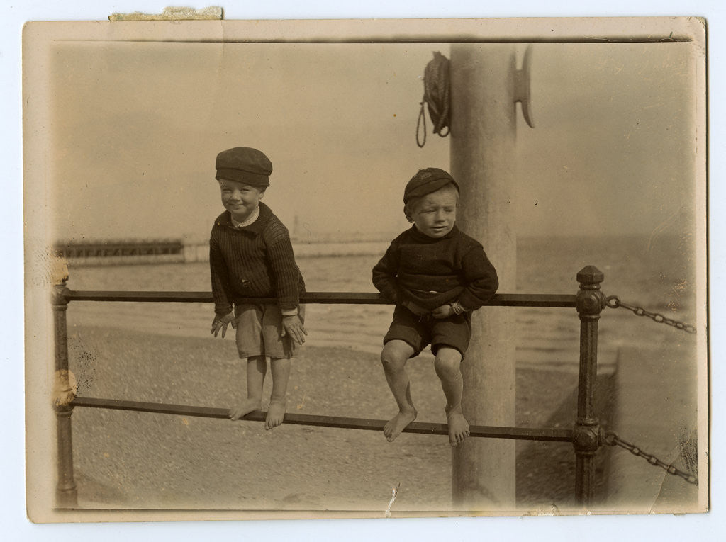 Detail of Small boys on Ramsey promenade by Thomas Horsfell Midwood
