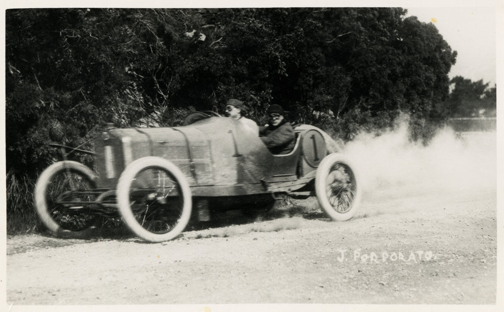 Detail of Motorcar no.1 J. Porporato in a Minerva, Waterworks Corner, 1914 Tourist Trophy motorcar race by Anonymous