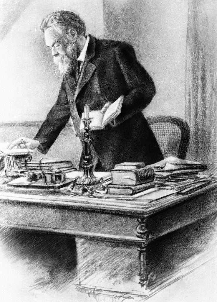 Detail of Friedrich Engels Working in His Office by Corbis