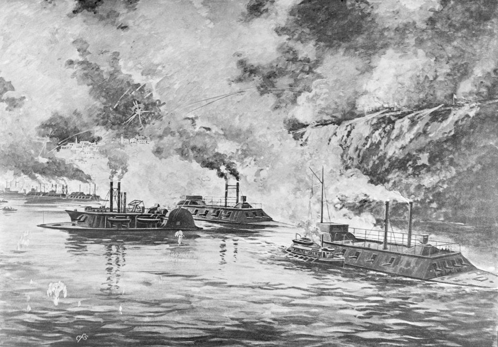 Detail of 19th-Century Print Showing Rear Admiral Porter's Flotilla Arriving at Vicksburg by Corbis