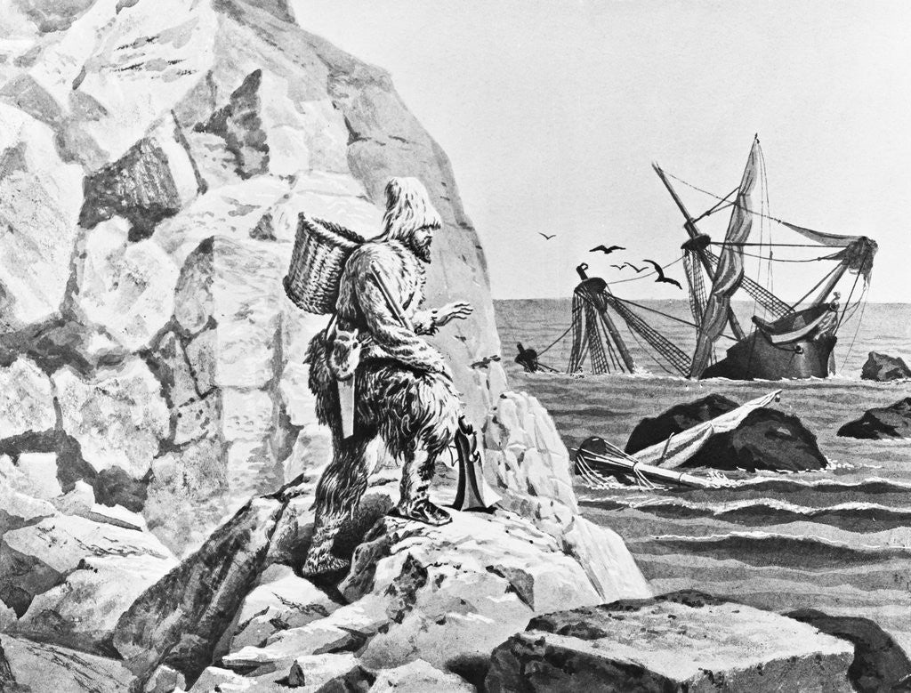 Detail of Robinson Crusoe Viewing His Wreck Print by Corbis