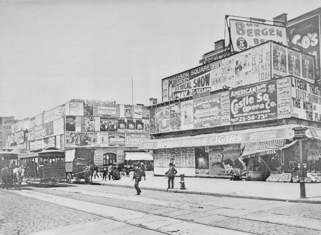 Detail of Advertisements in Times Square in 1900 by Corbis