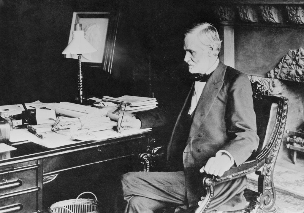Detail of John Sherman Seated at His Desk by Corbis