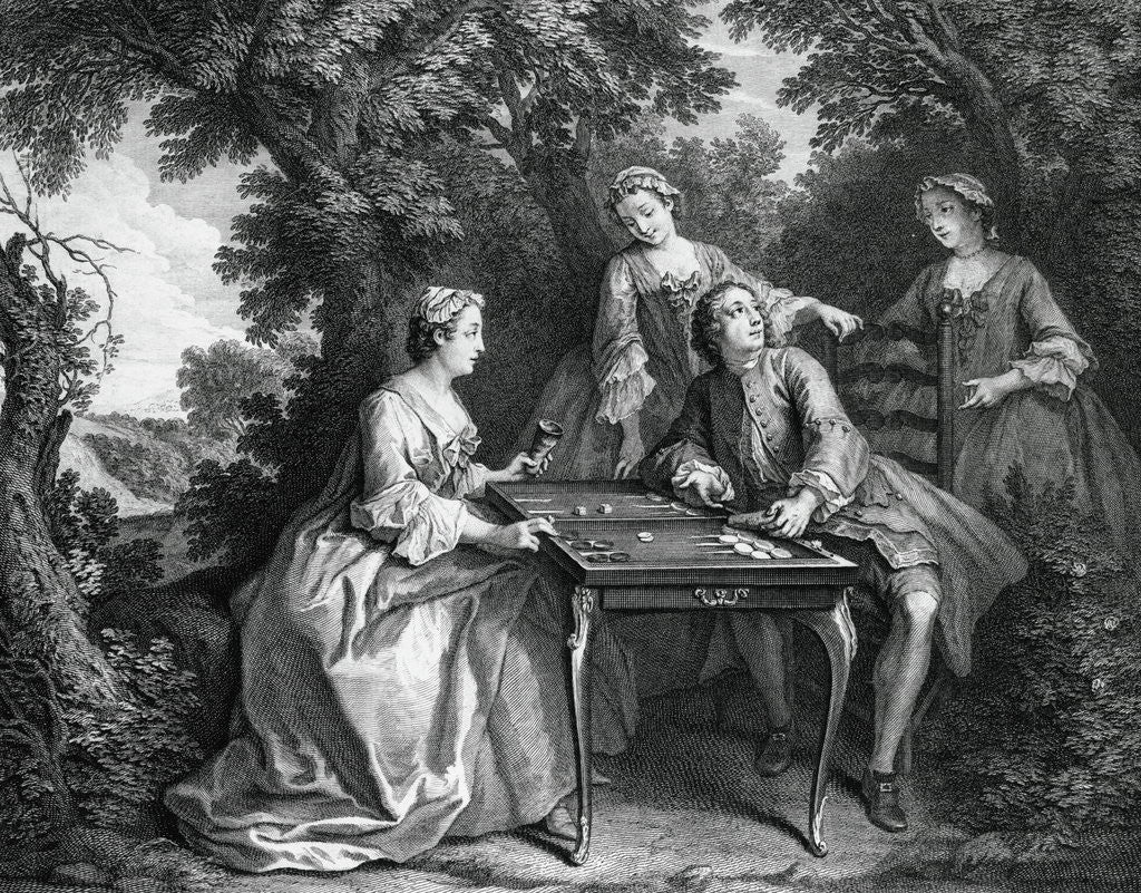 Detail of Aristocrats Playing Tric-Trac by Corbis