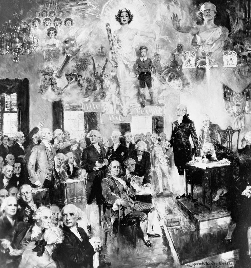 Detail of Collage Type Drawing of the Constitution Meeting by Corbis