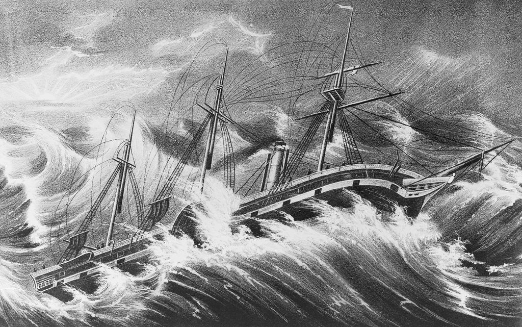 Detail of Illustration of Ship in Storm by Corbis