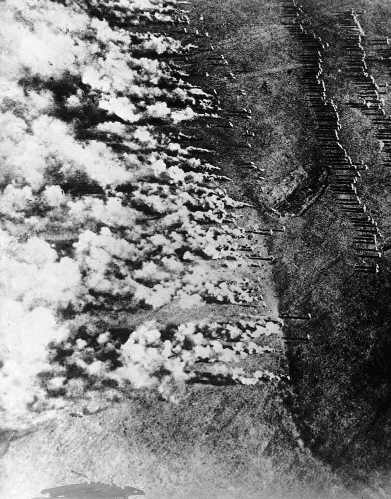 Detail of Aerial View of World War I Gas Attack by Corbis
