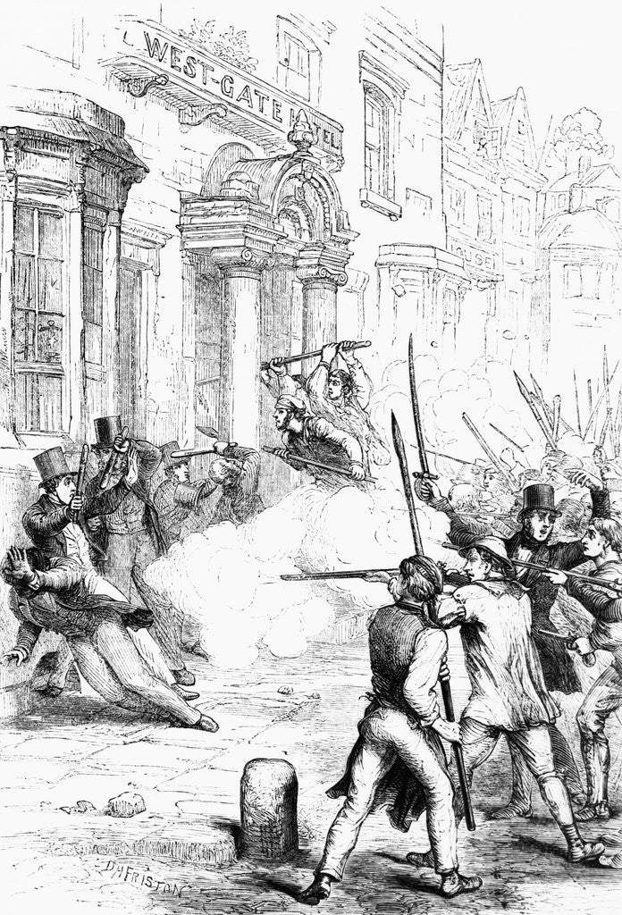 Detail of Rioters Shooting and Fighting by Corbis