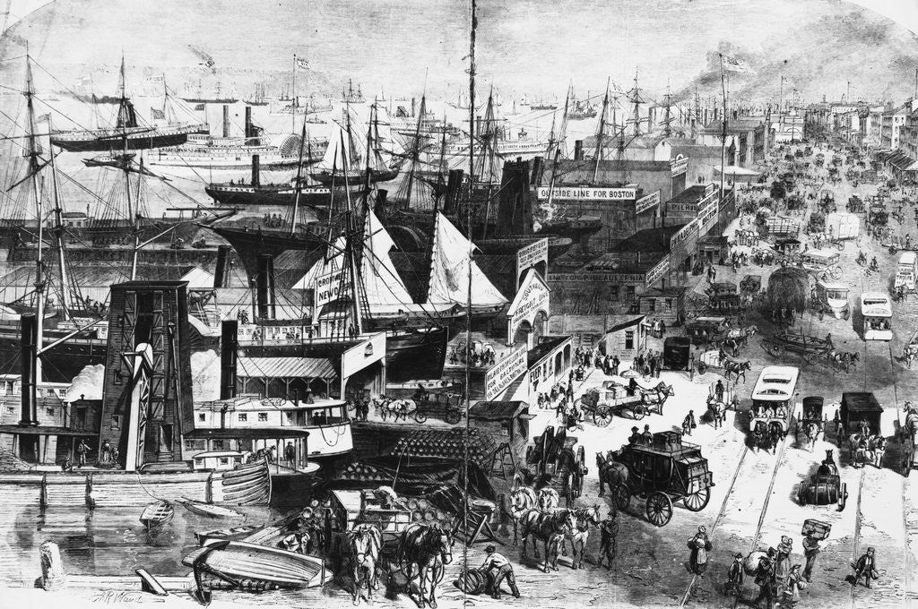 Detail of Along the Docks, New York City, View From West Street by Corbis
