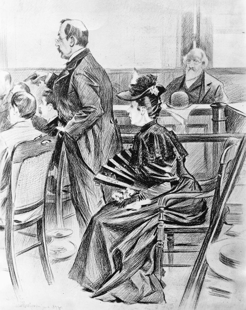 Detail of Drawing of Lizzie Borden and Her Lawyer in Court by Corbis