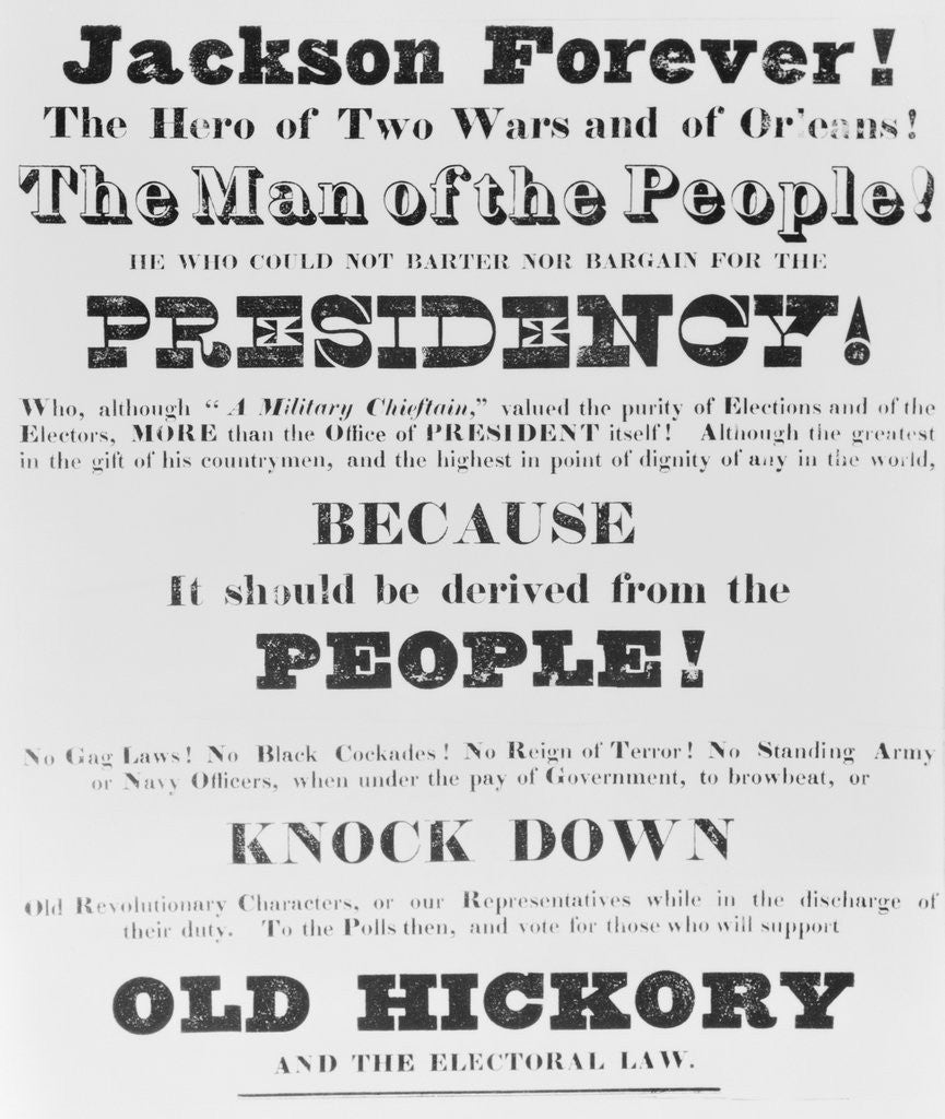 Detail of Election Poster for Andrew Jackson's Campaign by Corbis