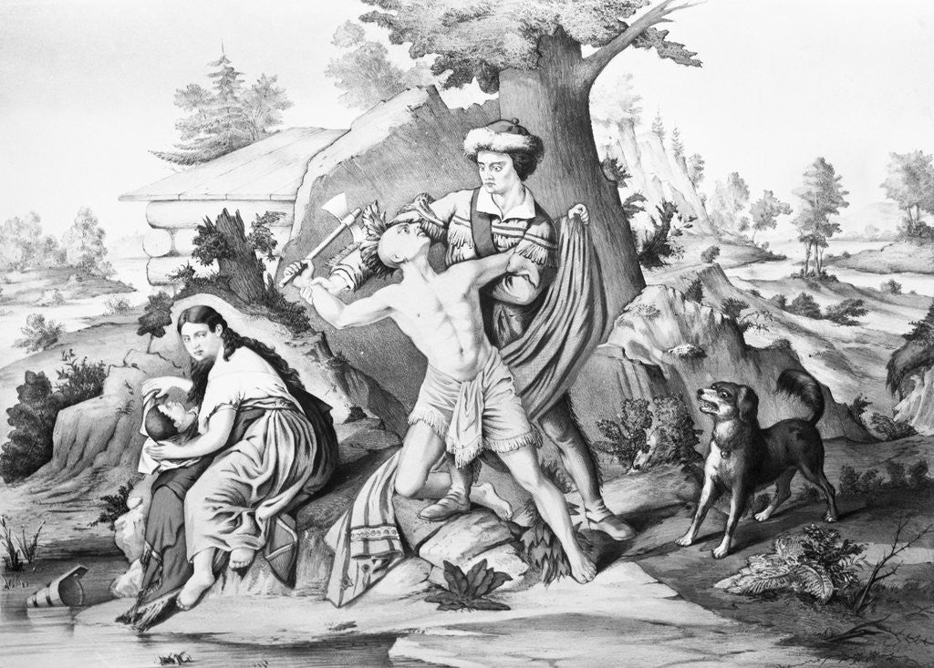 Detail of Daniel Boone Fighting Enemy by Corbis