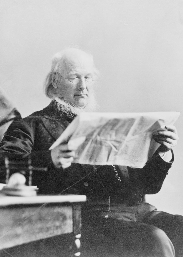 Detail of Horace Greeley Reading New York Sun Newspaper by Corbis
