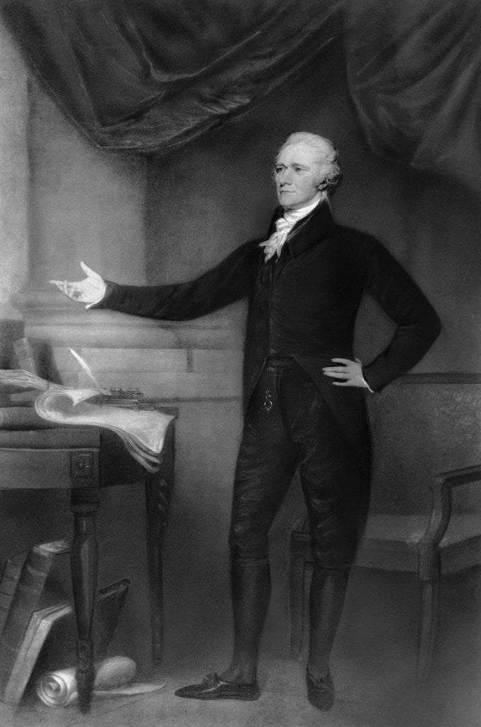 Detail of Alexander Hamilton Posing in Office by Corbis