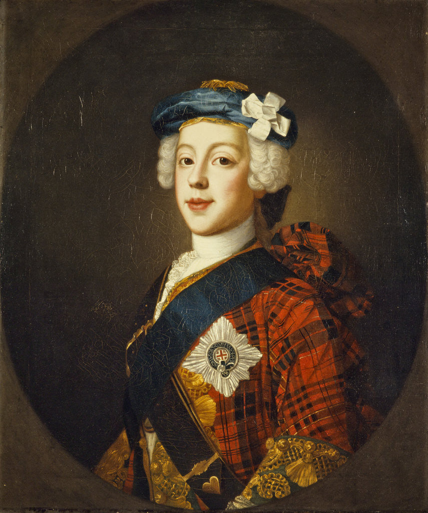 Detail of Prince Charles Edward Stuart, 1720 - 1788. Eldest son of Prince James Francis Edward Stuart by William Mosman