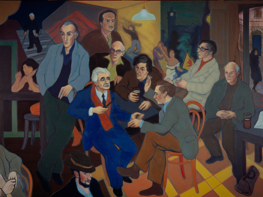 Detail of Poets' Pub (Norman MacCaig, Sorley MacLean, Hugh MacDiarmid, Iain Crichton Smith, George Mackay Brown, Sidney Goodsir Smith, Edwin Morgan, Robert Garioch, Alan Bold and John A. Tonge) by Alexander Sandy Moffat