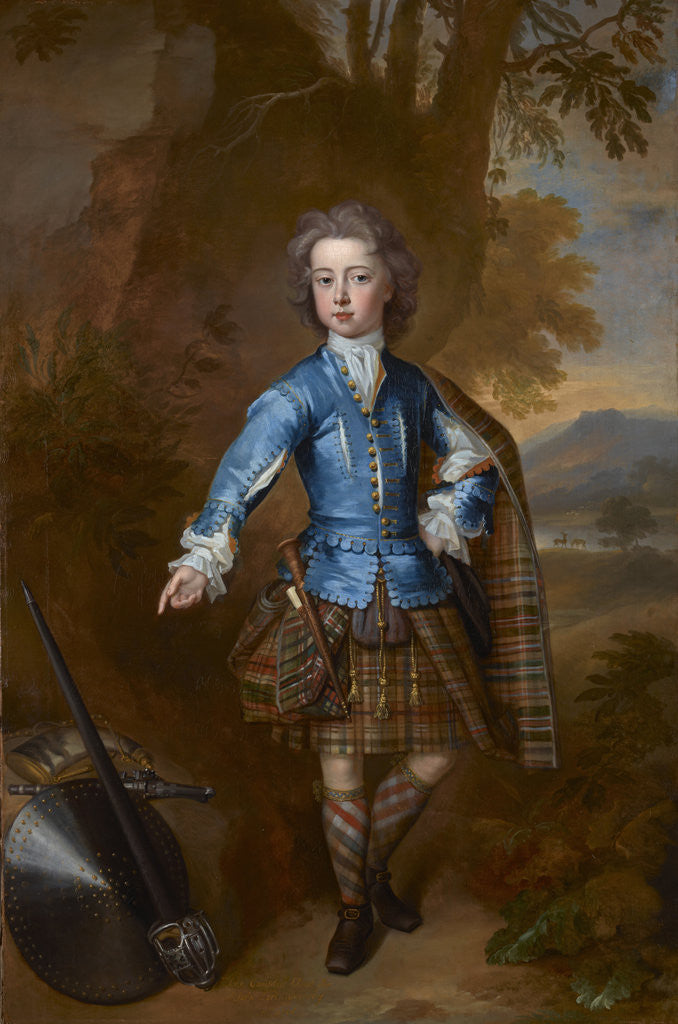 Detail of John Campbell, 3rd Earl of Breadalbane, 1696 - 1782. (as a child in highland costume) by Charles Jervas