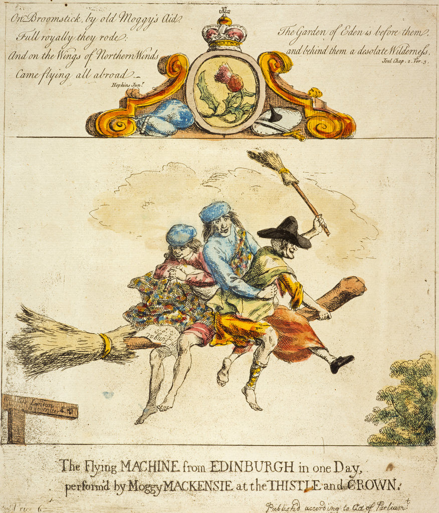 Detail of The Flying Machine from Edinburgh in one day performed by Moggy Mackenzie at the Thistle and Crown by Paul Sandby