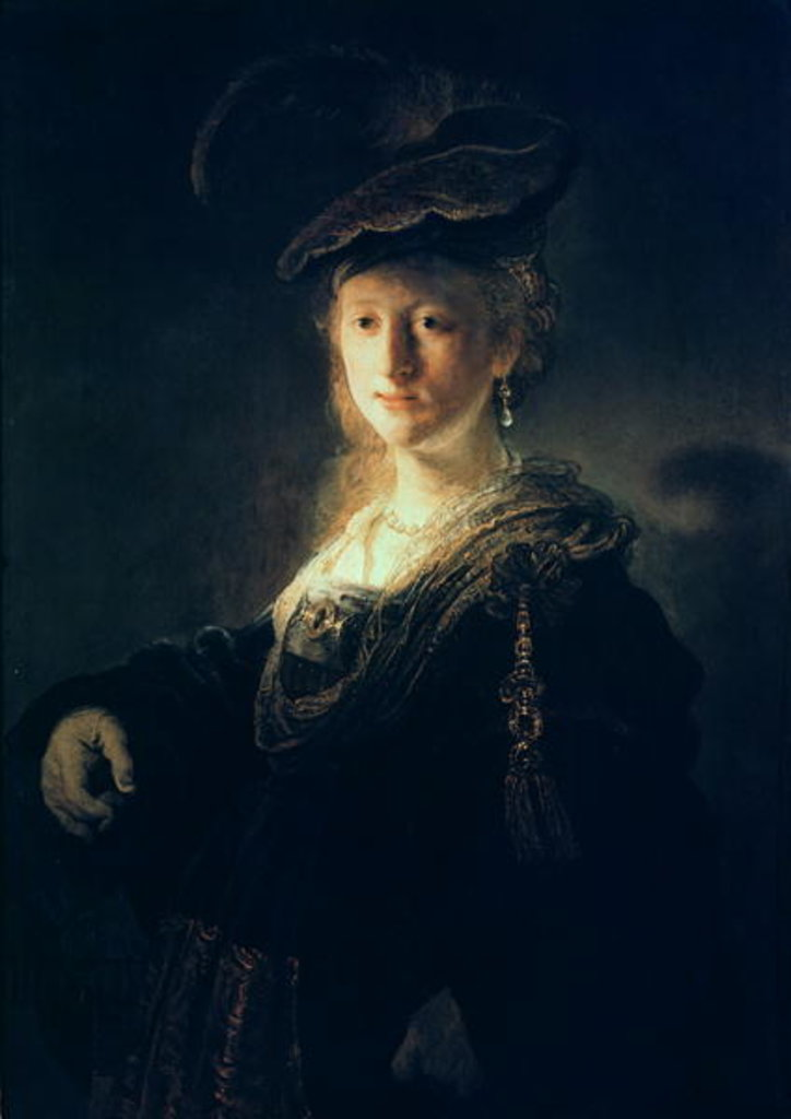 Detail of Young Woman in Fancy Dress by Rembrandt Harmensz. van Rijn