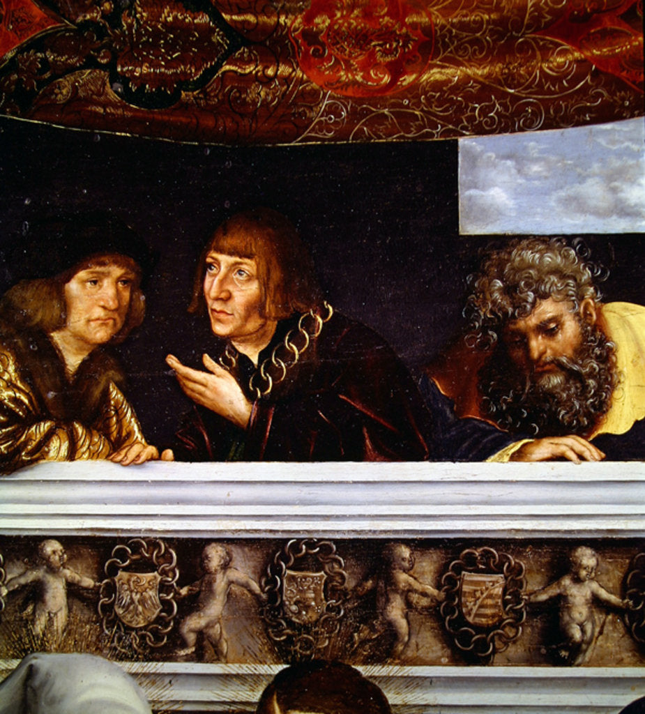 Detail of Emperor Maximilian and Sixtus Oelhafen by Lucas the Elder Cranach