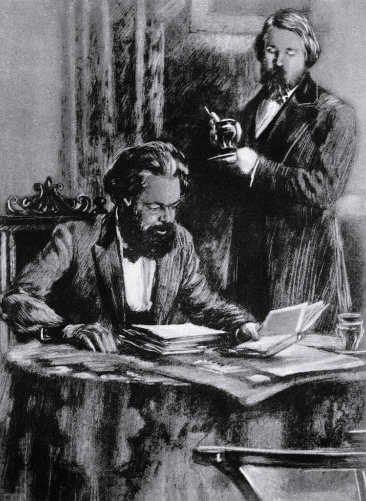 Detail of Friedrich Engels and Karl Marx in Office by Corbis