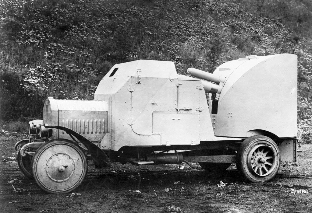 Detail of Early German Car with Gun Attachment by Corbis