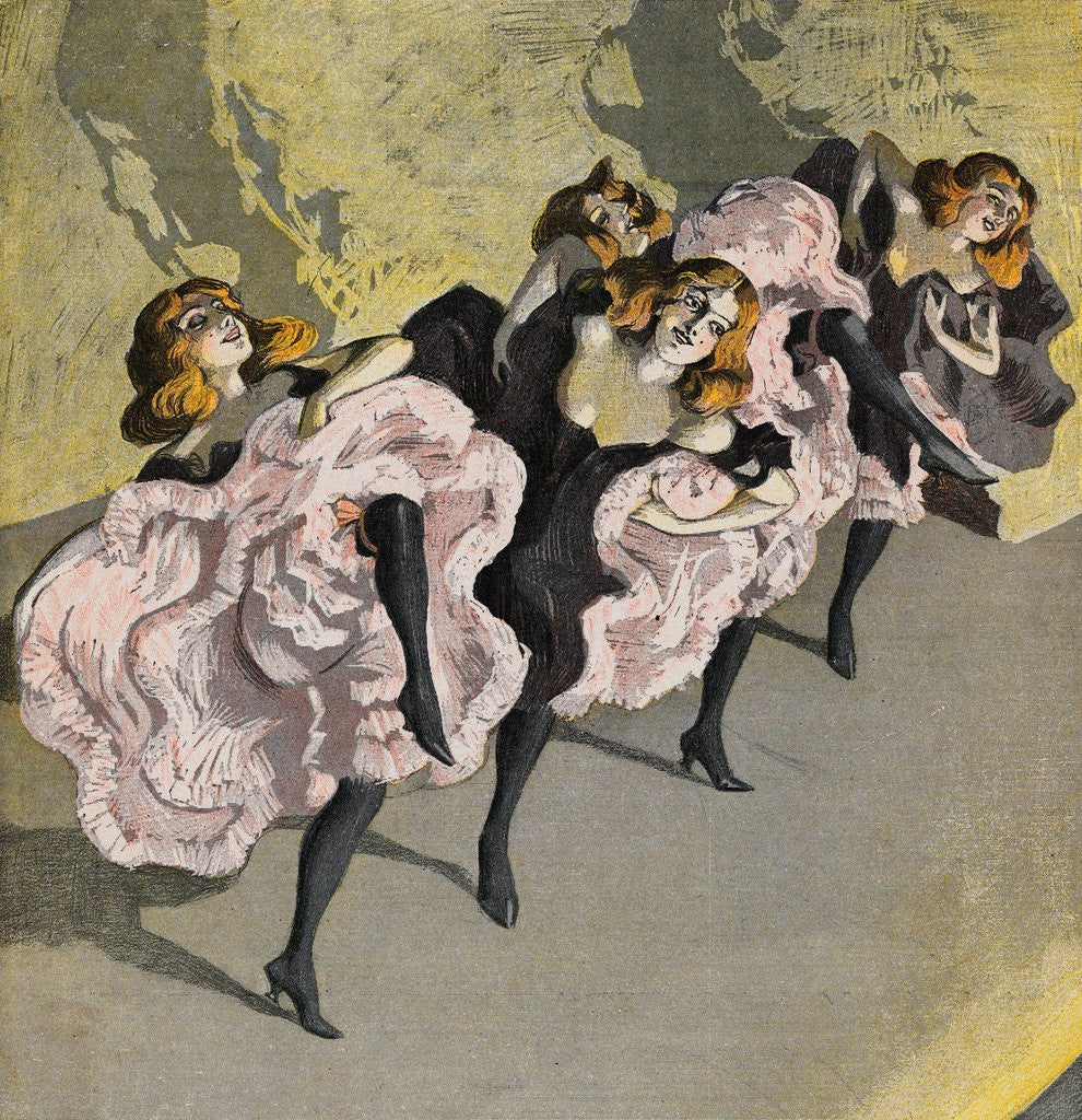 Detail of Four Girls Dancing Cancan by Corbis