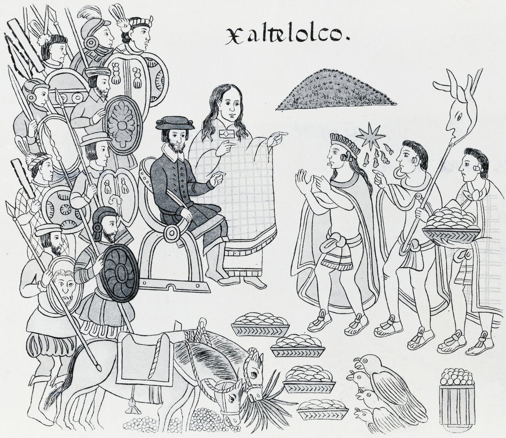 Detail of Elaborate Drawing Depicting Aztec Treaty Conference by Corbis