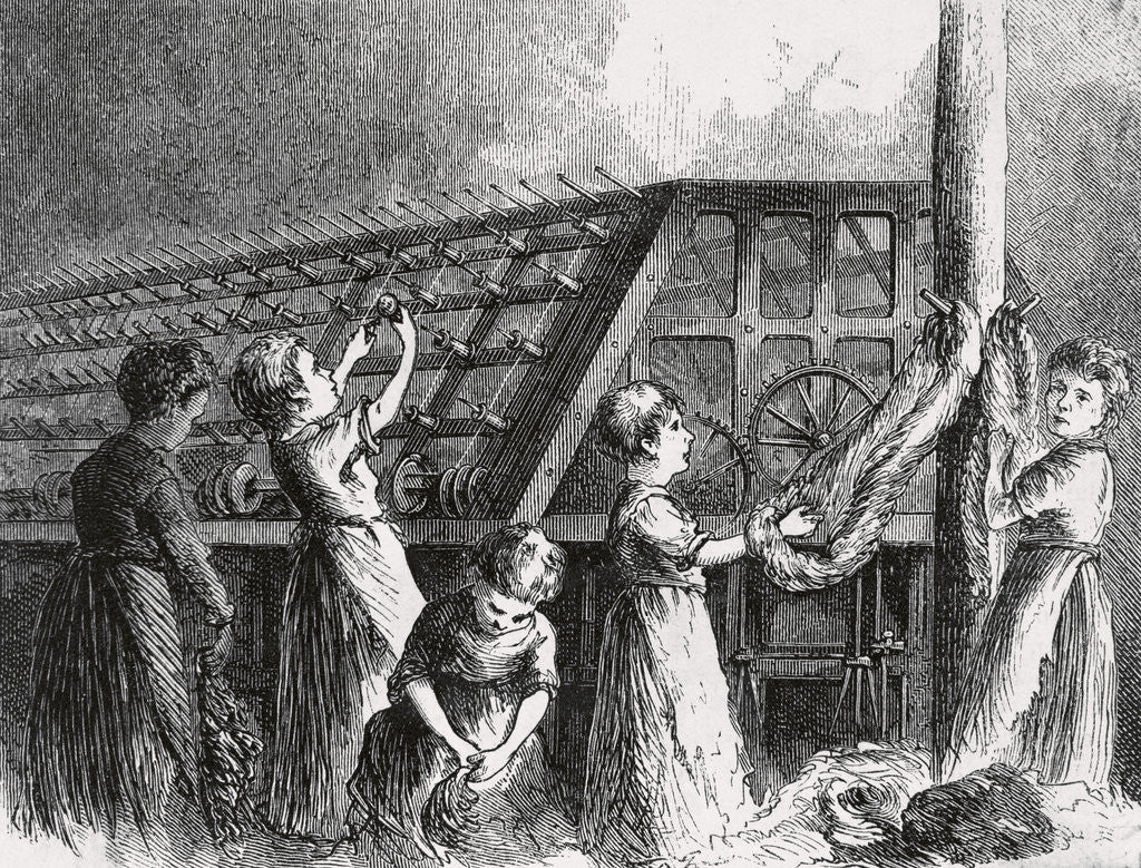 Detail of Drawing of Young Child and Women Laborers in Twine Factory by Corbis