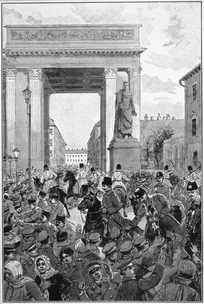 Detail of Engraving of Police Charging a Crowd in St. Petersburg, Russia by Corbis