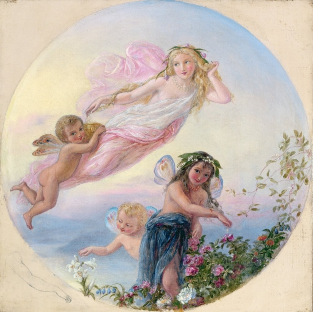 Detail of A Sylph and her Fairy Attendants Besprinkling the Early Morning Dew by Joseph Bouvier