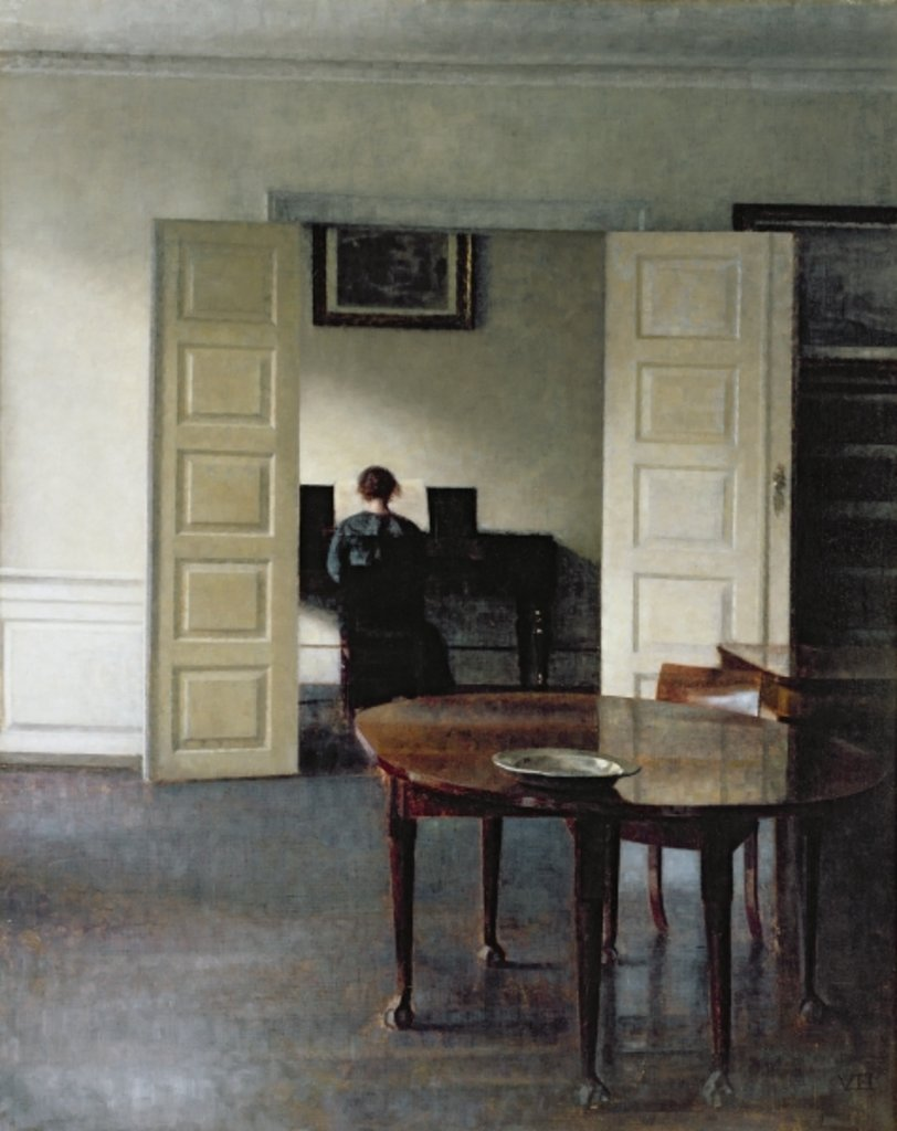 Detail of An Interior with a Woman Playing Piano, 1910 by Vilhelm Hammershoi