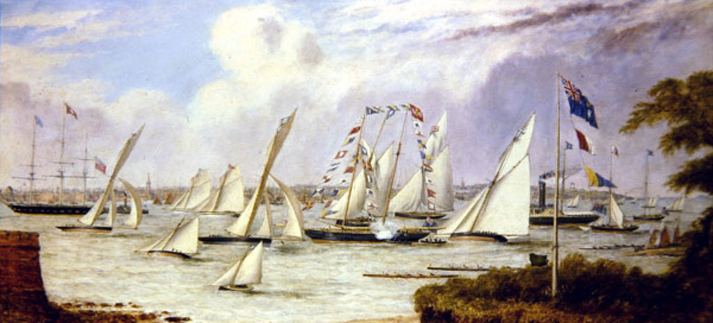 Detail of The Grand Regatta of the Royal Mersey Yacht Club by Henry Melling