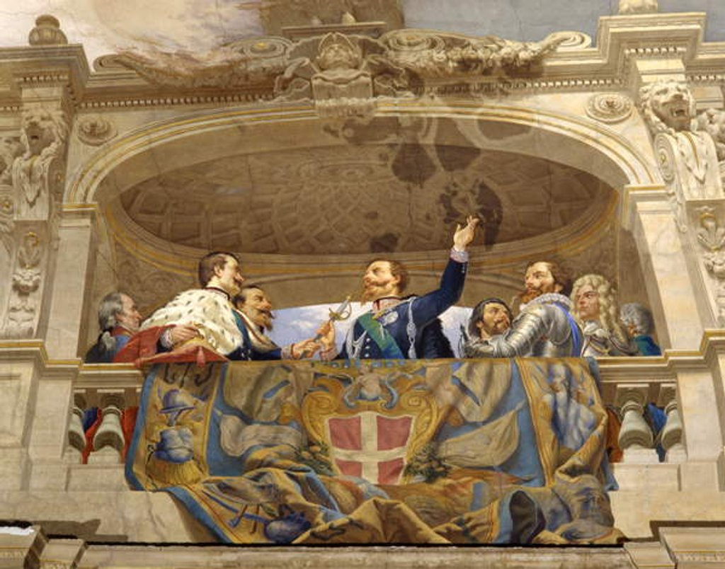 Detail of Carlo Alberto giving the sword to Vittorio Emanuele II, detail by Cesare Mariani
