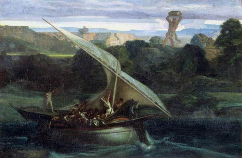 Polyphemus attacking sailors in their boat, 1855