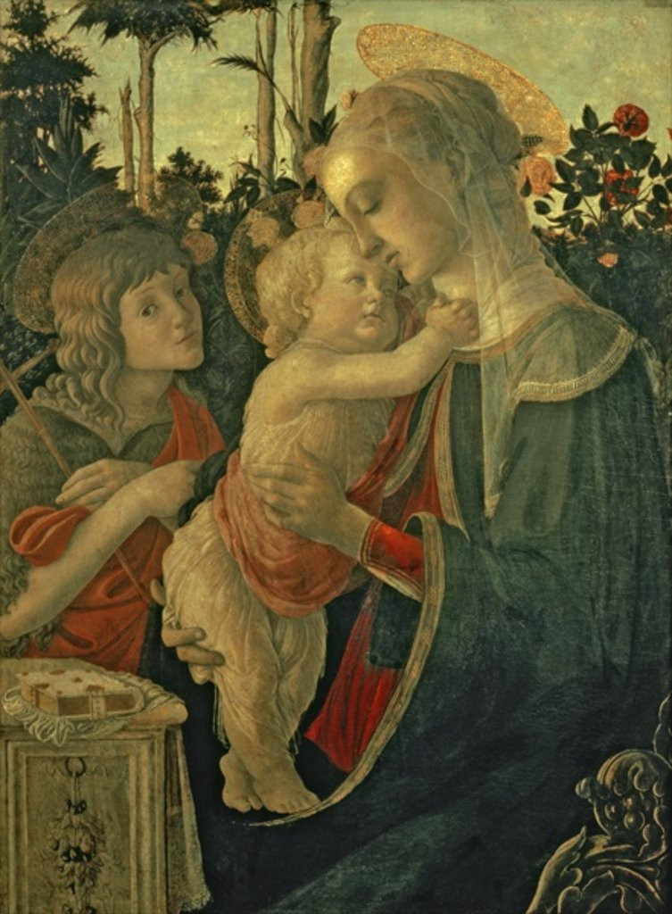 Detail of Madonna and Child with St. John the Baptist by Sandro Botticelli