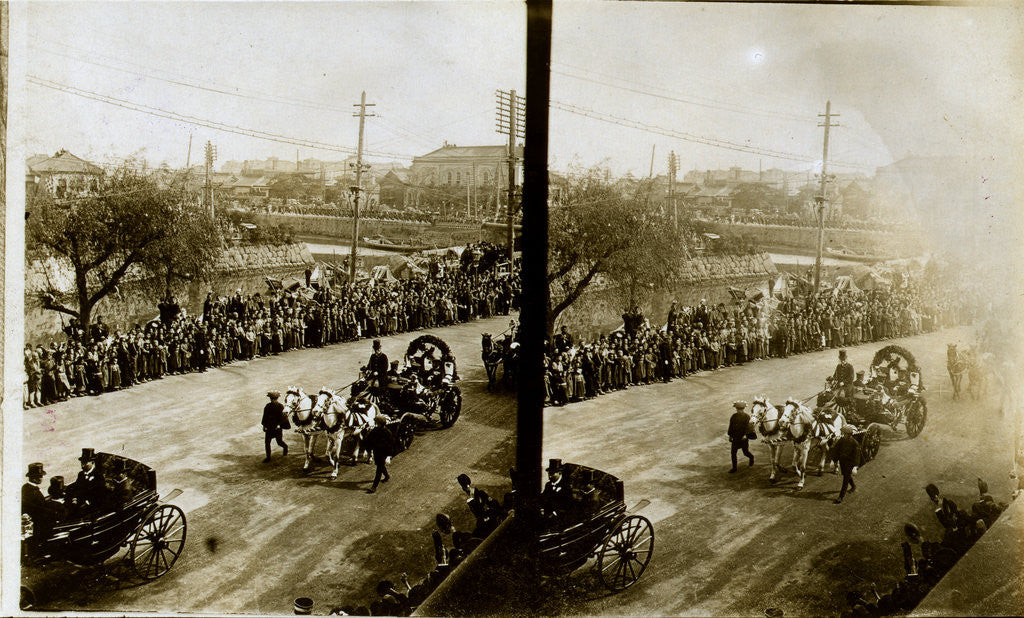 Detail of Carriages carrying Admiral Togo, naval officers and government officials by Anonymous