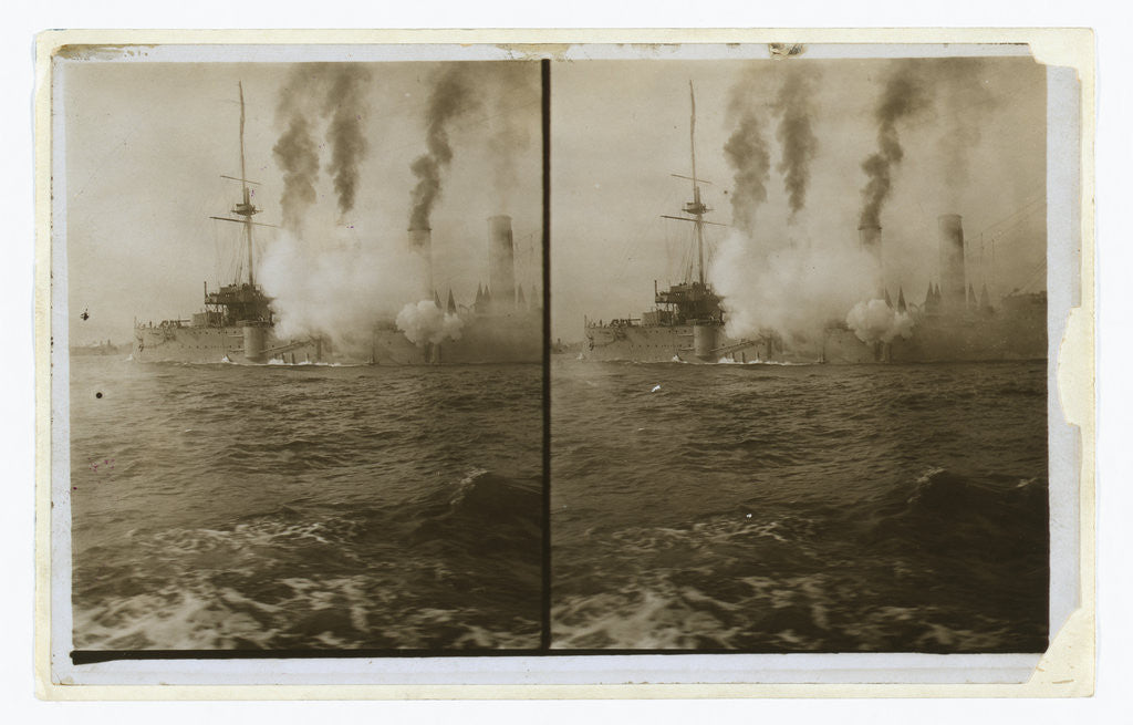 Detail of An American cruiser firing its guns in salute as it arrives in New York, probably at the time of the Portsmouth Peace Conference by Anonymous