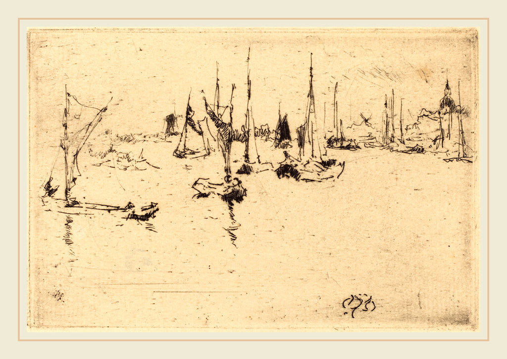 Detail of Boats, Dordrecht, 1884 by James McNeill Whistler