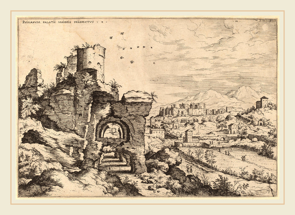 Detail of Ruins on the Palatine, Looking toward the Baths of Caracalla, probably 1550 by Hieronymus Cock