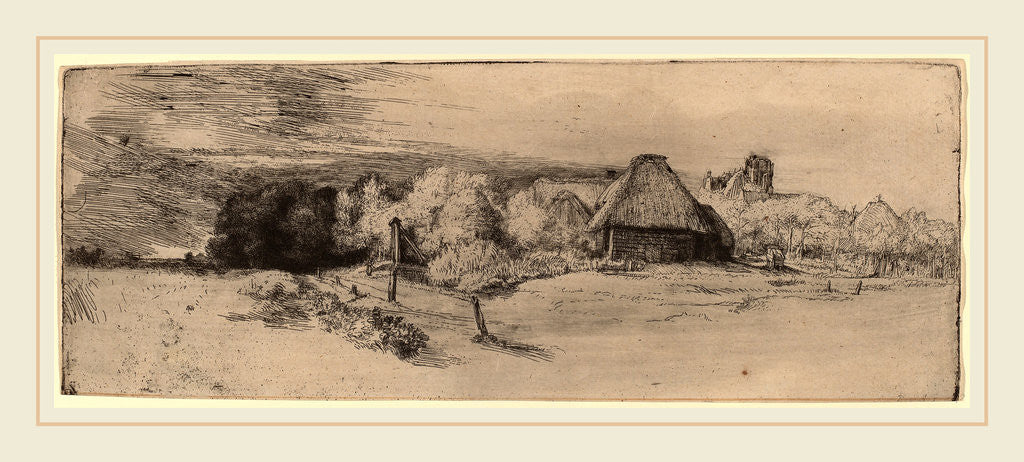 Detail of Landscape with Trees, Farm Buildings and a Tower, c. 1651 by Rembrandt van Rijn