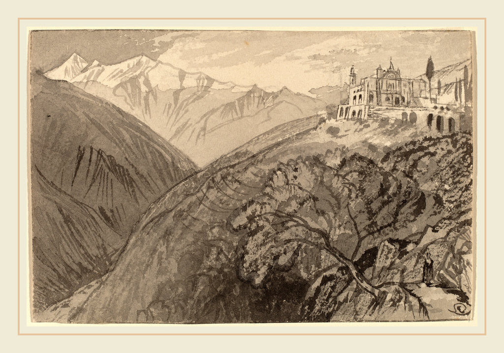 Detail of A Town on a Hilltop by Edward Lear