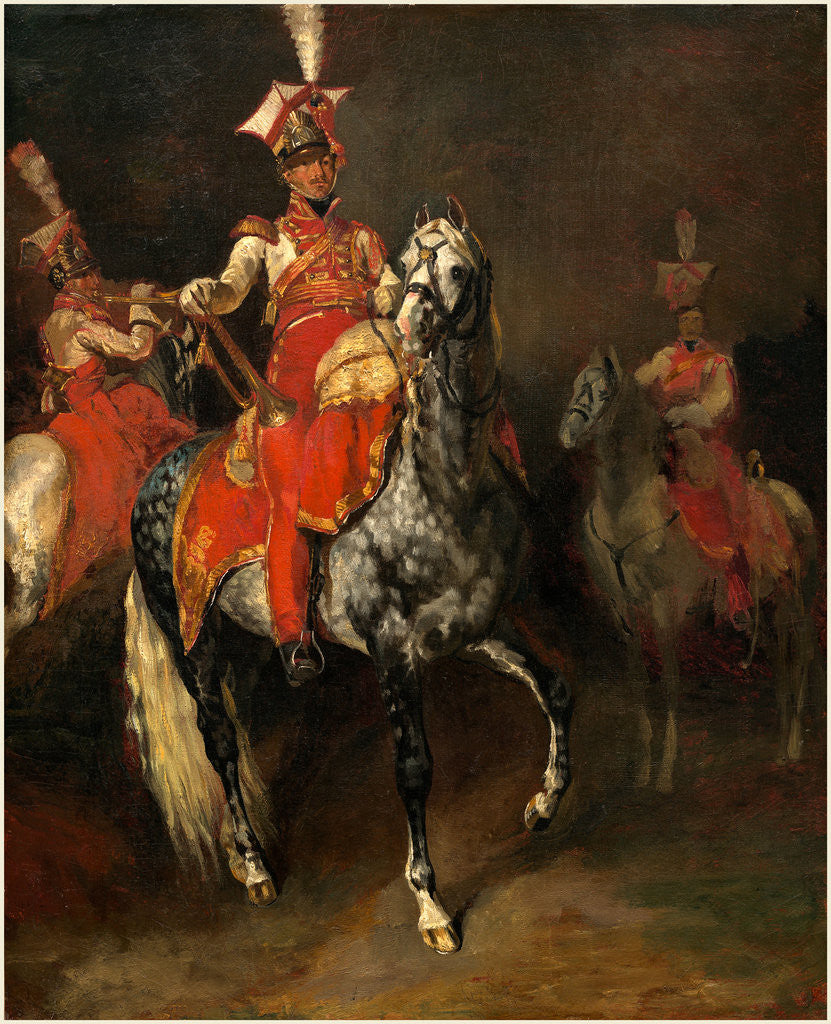 Detail of Mounted Trumpeters of Napoleon's Imperial Guard by Théodore Gericault
