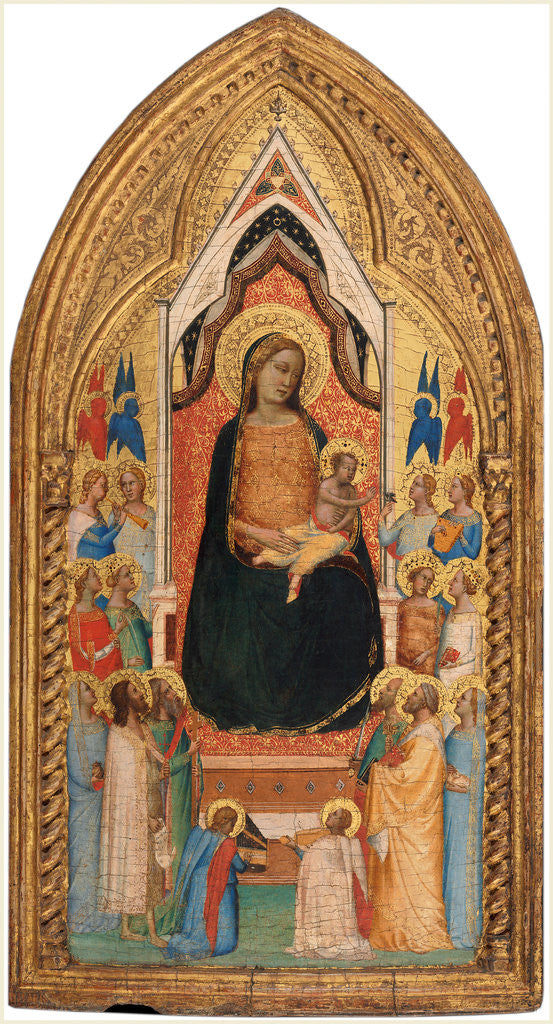 Detail of Italian, Madonna and Child with Saints and Angels, 1330s by Bernardo Daddi